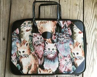 Vtg 90s Cat Tapestry Breifcase Business Bag Purse