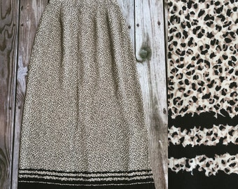 Vtg 90s Leopard Print Maxi Skirt