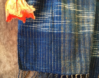 Indigo Handwoven cotton shawl scarf with multicolor stripe