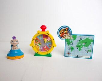 3 Vintage Kids Meal Toys - E.T., Mario Brothers, Carmen Sandiego