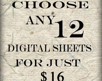 SPECIAL SALE  Bundle 12 Collage Sheets of Your Choice (S-12)