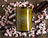 Ymir - Peppermint and Frankincense Scented Wine Bottle Soy Candle - Holiday Candle