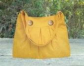 Golden cotton canvas travel bag / shoulder bag / messenger bag / diaper bag / cross body bag