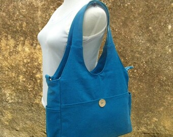 Holiday On Sale 10% off blue canvas diaper bag, womens hand bag, canvas messenger bag, tote bag for women