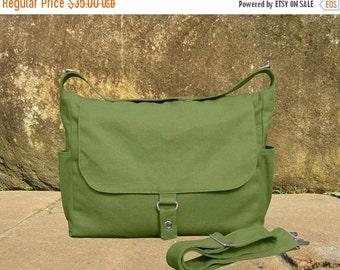 Holiday On Sale 10% off messenger bag, grass green diaper bag, shoulder bag, canvas travel bag with zipper closure