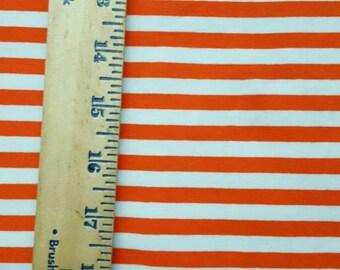 "Orange  & White 3/8"" Wide Cotton lycra STripe Knit Fabric"