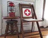 Red Cross/Ski Patrol Chair, Vintage Foldout Wood Chair w/Metal Hardware, White Canvas w/Red Vinyl