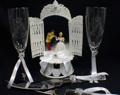 Cinderella Prince Charming Castle Fariytale LOT Disney Wedding Cake Topper, Glasses, Knife, Server, Garter