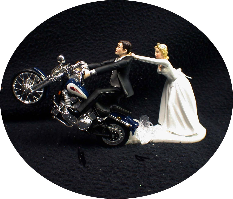 Motorcycle Wedding Cake Topper W Sexy Blue Harley Davidson