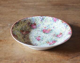 Vintage French pink Roses little bowl LImoges Porcelain floral