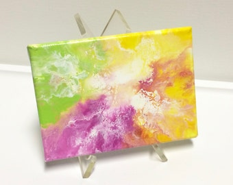 Abstract Art acrylic painting, 5 x7 inches, green.pink.yellow.orange. handmade wall decor, home decor, gift