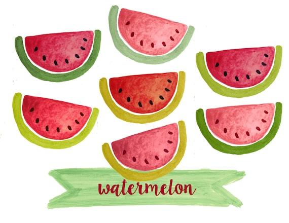 Watermelon clipart fruit clipart watercolor fruit clipart
