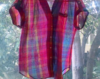 SALE Vintage 70s Plaid Camp Shirt