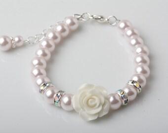 Flower girl bracelet, light pink pearl bracelet, white rose bracelet, girl birthday gift, Pink wedding bracelet, flower girl jewelry,