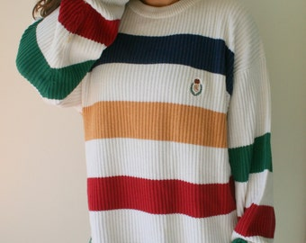 VINTAGE RALPH LAUREN Sweater...one size. free size. colorful. bright. retro. hipster. striped. rainbow. 1990s sweater. rad. greek. frat.