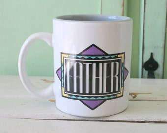 1980s Vintage FATHER Coffee Mug.....retro housewares. kitsch. dad. father. number one. gift for him. 1980s. special. fathers day. super dad
