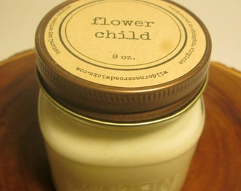 Flower Child 8 ounce Soy Mason Jar Candle