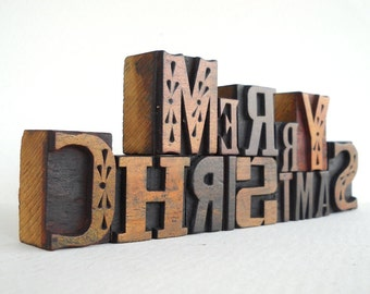25% OFF - MERRY CHRISTMAS - 14 Vintage Letterpress Wood Type Alphabets Collection - LP34