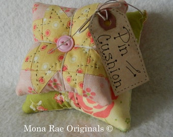 Pin Cushion ~ Original Design Pin Keeper ~ Mothers Day Gift ~ Quilter Gift ~ Sewing Gift ~ Peach, Green and Yellow  Pin Cushion