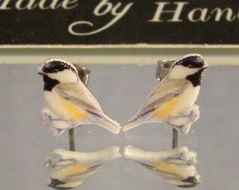 Chickadee cut out bird Stud earrings - surgical steel