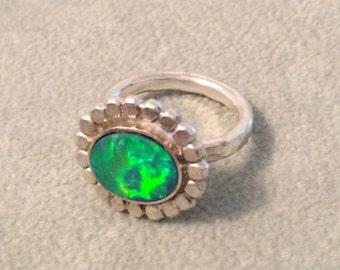 SUMMER SALE Amazing Fire Opal Sterling Silver ooak Ring
