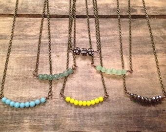 Delicate beaded necklace. Choose blue, yellow, green, jade, pearl, silver or rhinestone