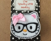 Kitty With Glasses and Pink Bow Embroidered Felt Clip by The Spunky Little Monkey