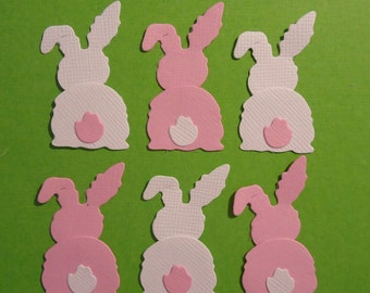 12 Back of the Bunny Die Cuts for Scrapbooking and Card Making Pink and White Easter Embellishment