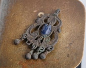 RESERVED for E... Antique metal filigree charm, earring, pendant, connector, finding, dark patina