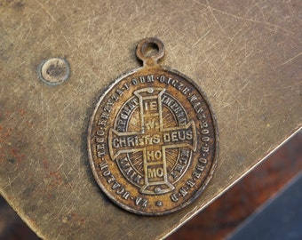 RESERVED for P... Antique religious brass medal. Pope Leo XIII, Catholic, Christianity (IL)