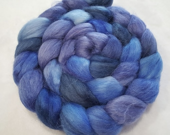 Alpaca/Merino/Tussah Silk Roving-50/30/20-Hand Dyed/Painted - 4 oz - Sapphire Blue, Navy and Periwinkle