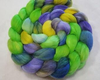 Alpaca/Merino/Tussah Silk Roving-50/30/20-Hand Dyed/Painted - 4 oz - Lime Green, Blue, Purple and Yellow