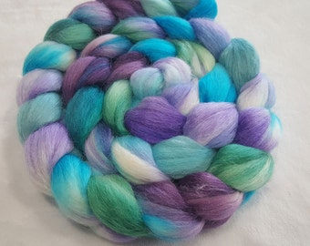 Alpaca/Merino/Tussah Silk Roving-50/30/20-Hand Dyed/Painted - 4 oz - Turquoise, Spearmint Green and Purple