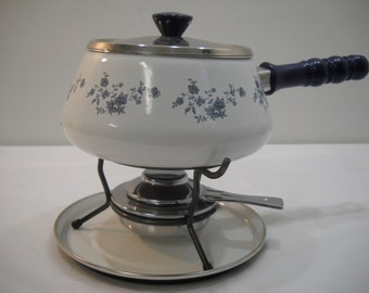 Fondue Set Vintage Crowning Touch Porcelain Fondue Set Made In Spain Blue Garland Pattern