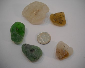 Bonfire Sea Glass In Greens, Whites, And Brown From The Pacific Northwest