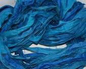 100g Recycled Sari Silk Ribbon Yarn, multi, 65 yards,   3.5 oz / 100 grams  Teal
