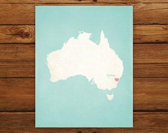 Customized Printable Australia Country Map Art - DIGITAL FILE - Aged-Look Canvas Wall Art Print