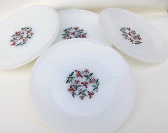 Vintage Glass Dinner Plates, Anchor Hocking, Milk Glass Plates, Fire King Plates, Honeysuckle Pattern, Set of 10