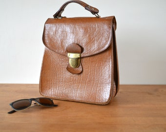 Soviet Vintage Purse Handbag Brown Leather 70s Retro Boho Bag