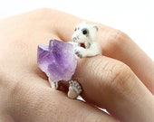 Bear and Raw Crystal Ring in silver / polar bear ring, purple raw crytal