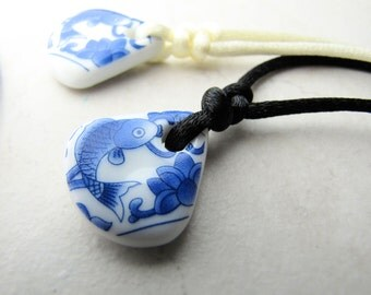 Sea Glass Necklace, Seaglass Necklace, Pottery Necklace, Asian Necklace, Koi Necklace, Asian Art, China Necklace, Beach Jewelry