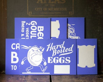 Vintage Blue and White Diner Price Signs - Unused New Old Stock - Great Bar or Kitchen Decor!
