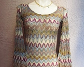 60's/70's Zig Zag Knit Cotton Dress Missoni Italy sm/med.