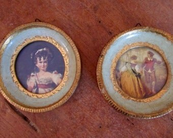 Italy Florentine Miniature Wall Plaque Paintings