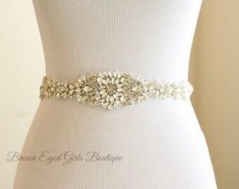 "Rhinestone Bridal Sash, Crystal Rhinestone Bridal Sash, Rhinestone Crystal Wedding Belt, Rhinestone Crystal Bridal Sash. 14"" of Rhinestones."