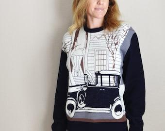 Vintage 70s Gatsby Roaring 20s Gray Novelty Navy Sweater // mens medium// womens med large