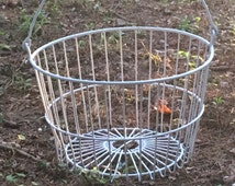 Rustic Vintage Large White Egg Collecting Wire Basket