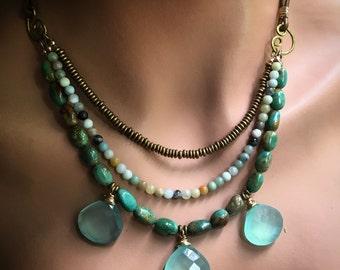 Boho Chalcedony, Turquoise and Amazonite Bib Necklace, Mermaid Necklace