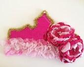 Hot pink sparkle crown Aurora inspired (birthday crown , princess crown , cake smash , prop )by Austenland