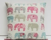 Elephants Cushion Cover, Elephant Pillow Case, Elephant Decor, Pillow Sham, Pink and Gray Elphants, 14x14, 16x16, 17x 17, 18x18, 20x20,